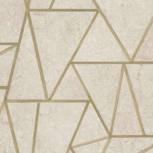 DUTCH WALLCOVERINGS Wallpaper Triangles Beige and Gold