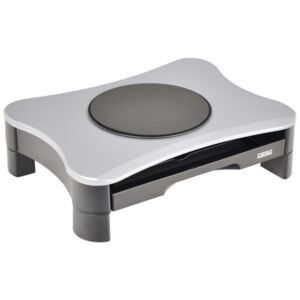 DESQ Monitor Riser with Swivel and Drawer Grey