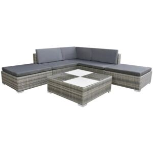 6 Piece Garden Lounge Set with Cushions Poly Rattan Grey