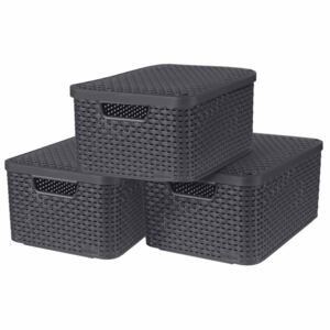 Curver Style Storage Boxes with Lid 3 pcs Size M Anthracite