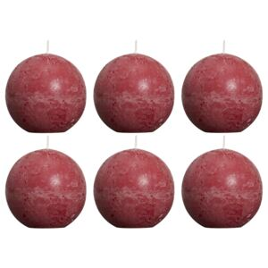Bolsius Rustic Ball Candles 6 pcs 80 mm Wine Red