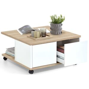 FMD Mobile Coffee Table 70x70x36 cm Oak and Glossy White