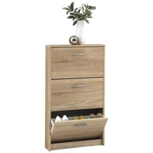 FMD Shoe Cabinet with 3 Tilting Compartments Oak