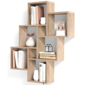 FMD Wall-mounted Shelf with 8 Compartments Oak