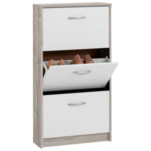 FMD Shoe Cabinet with 3 Tilting Compartments White and Oak
