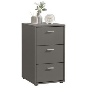 FMD Bedside Cabinet with 3 Drawers Lava Grey