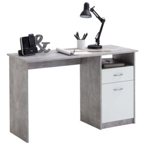 FMD Desk with 1 Drawer 123x50x76.5 cm Concrete and White