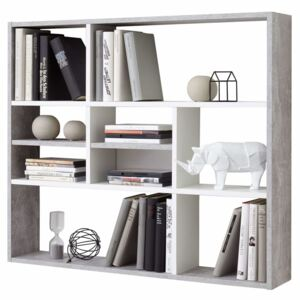 FMD Wall-mounted Shelf with 9 Compartments Concrete Grey