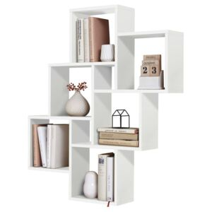 FMD Wall-Mounted Shelf with 8 Compartments White