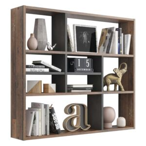 FMD Wall-mounted Shelf with 9 Compartments Old Style Dark Matera
