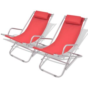 Reclining Deck Chairs 2 pcs Steel Red