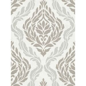 DUTCH WALLCOVERINGS Wallpaper Medallion White and Silver