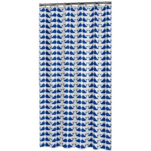 Sealskin Shower Curtain Whale Blue and White
