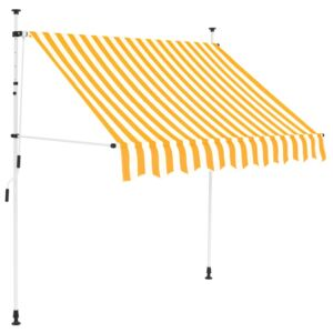 VidaXL Manual Retractable Awning 150 cm Yellow and White Stripes