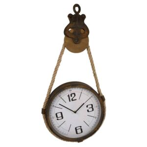 Gifts Amsterdam Wall Clock Pulley Metal Brown 32x7.5x66cm