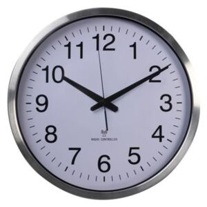 Perel Wall Clock 50 cm White and Sliver