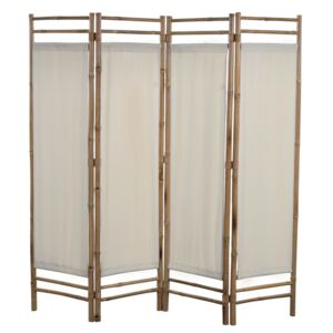 Folding 4-Panel Room Divider Bamboo and Canvas 160 cm