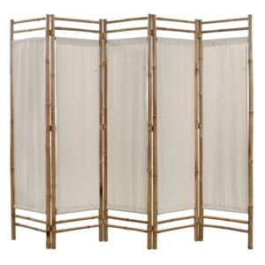 Folding 5-Panel Room Divider Bamboo and Canvas 200 cm