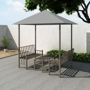 VidaXL Garden Pavilion with Table and Benches 2.5x1.5x2.4 m Anthracite