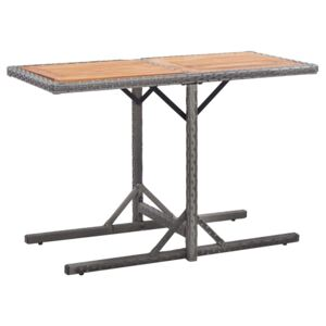 VidaXL Garden Table Anthracite Poly Rattan and Solid Acacia Wood