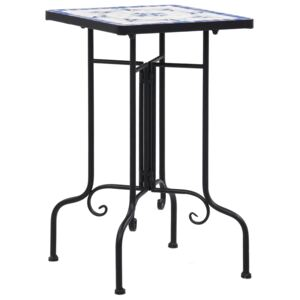 VidaXL Mosaic Side Table Blue and White Ceramic