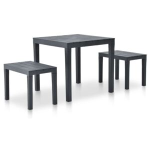 VidaXL Garden Table with 2 Benches Plastic Anthracite