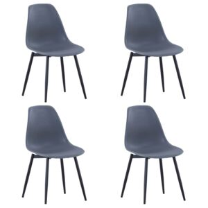 Dining Chairs 4 pcs Grey PP