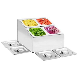 Gastronorm Container Holder with 4 GN 1/6 Pan Stainless Steel