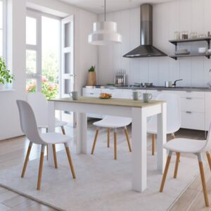 VidaXL Dining Table White and Sonoma Oak 120x60x76 cm Chipboard
