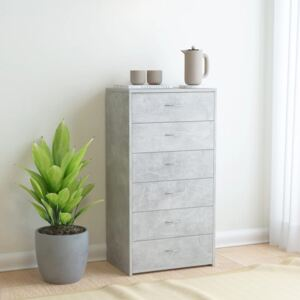 Sideboard with 6 Drawers Concrete Grey 50x34x96 cm Chipboard