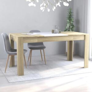 Dining Table White and Sonoma Oak 160x80x76 cm Chipboard