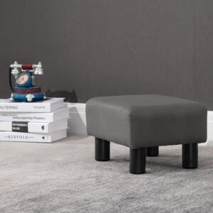 HOMCOM Footstool Foot Rest Small Seat Foot Rest Chair Grey Home Office with Legs 40 x 30 x 24cm