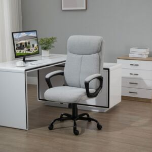 Vinsetto High Back Executive Chair Ergonomic Task Seat Home Office Swivel Computer Chair for Sturdy with Padded Armrests, Adjustable Height, Grey