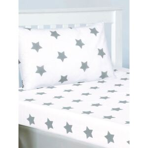 Grey and White Stars Junior Fitted Sheet and Pillowcase Set