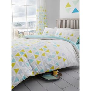 Geometric Triangle King Size Duvet Cover and Pillowcase Set - Teal