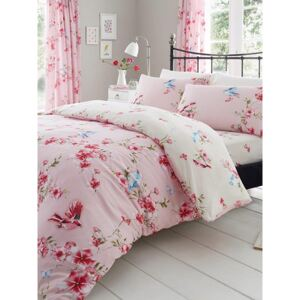 Birdie Blossom Floral King Size Duvet Cover and Pillowcase Set - Pink