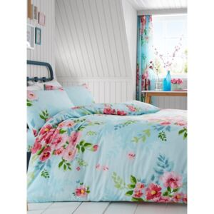 Alice Floral Double Duvet Cover and Pillowcase Set - Turquoise and