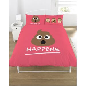 Emoji Mr Poo Double Duvet Cover and Pillowcase Set - Pink