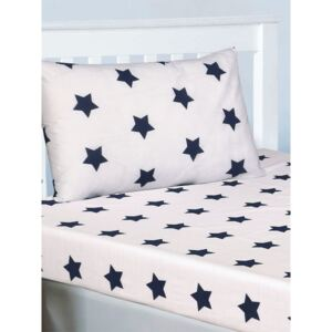 Navy Blue and White Stars Double Fitted Sheet and Pillowcase Set