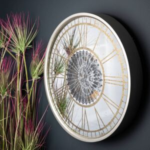 Antique Mirrored Moving Mechanism Wall Clock