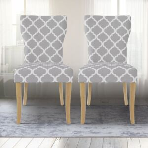Hugo Patterned Fabric Dining Chair in Pair