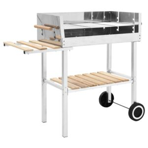 VidaXL XXL Trolley Charcoal BBQ Grill Stainless Steel with 2 Shelves