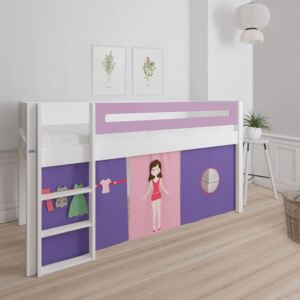 Manis White Mid Sleeper Bed in Dusty Rose Pink