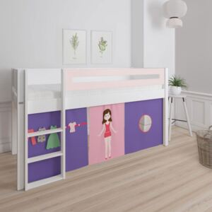 Manis White Mid Sleeper Bed in Light Rose Pink