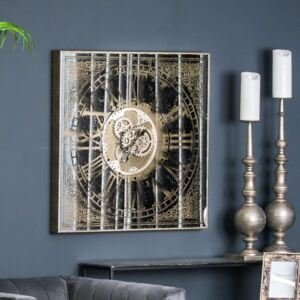 Mirrored Square Framed Clock