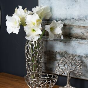 Silver Small Perforated Coral Inspired Vase