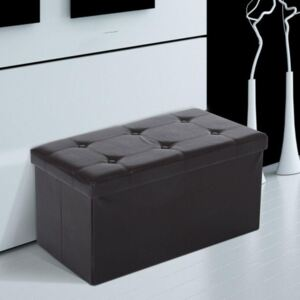 Folding Faux Leather Storage Box in Brown