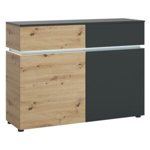 Luci 2 Door and 2 Drawer Oak and Platinum Cabinet