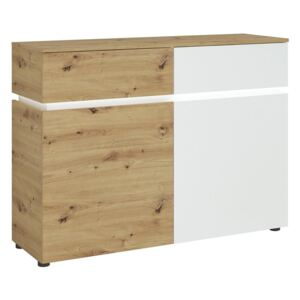 Luci 2 Doors and 2 Drawers Cabinet in White and Oak