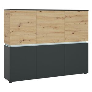 Luci 6 Doors Oak and Platinum Cabinet with LED Lighting
